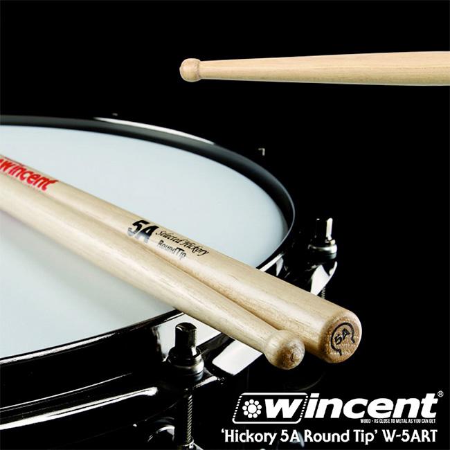 Wincent Hickory 5A Round Tip Drum Stick (W-5ART)