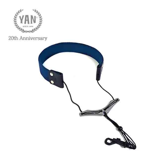 얀(YAN) 색소폰 스트랩 / YSL-W 날개형 (블루+다크실버)