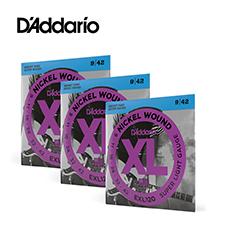 [공식수입정품 - 3팩 패키지]<br>Daddario - XL Nickel Super Light / 일렉기타 스트링 009-042 3세트 (EXL120)
