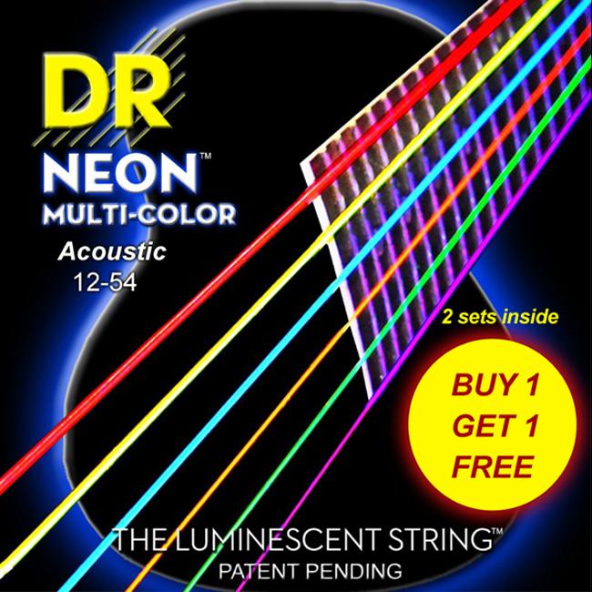 [2세트 Pack]DR NEON NMCA2-12-54 EP HiDef Multi Color Acous 통기타줄 (012-054) Extra-Pack