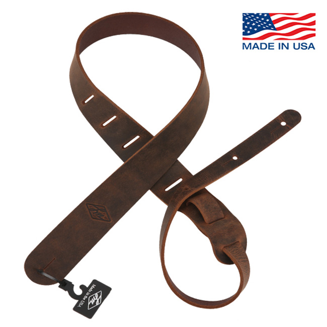 LM Products - Classic Leather Rustic Style Strap / 기타 & 베이스용 스트랩 2인치 (LS-201R-BR)