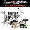Pearl New Export + iStanbul Traditional / 드럼+심벌세트 패키지 (Smokey Chrome / 22인치 베이스)