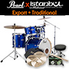 Pearl New Export + iStanbul Traditional / 드럼+심벌세트 패키지 (High Voltage Blue)